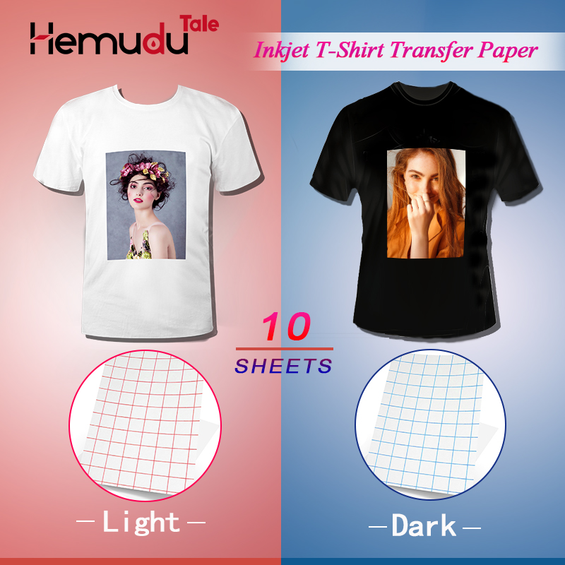 T-Shirt Transfer Photo Paper A4 10 Sheets Inkjet For Dark Or Light Color Fabric Cotton Garment