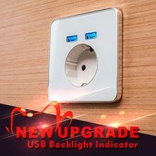 Jiubei Panel de cristal blanco 2A de puerto Dual USB adaptador/cargador de pared de enchufe de carga con adaptador de pared USB enchufe de la UE hembra Pow