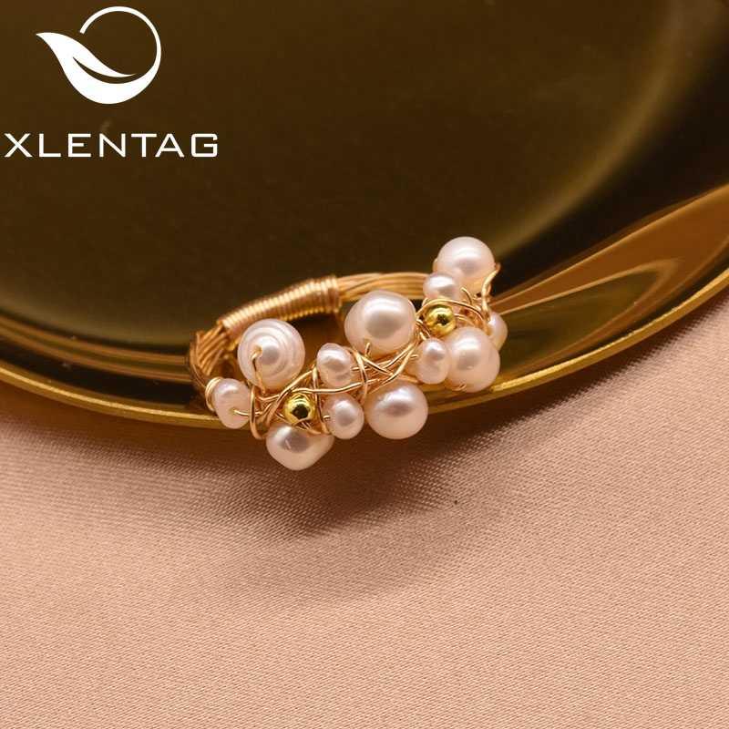 XlentAg สดน้ำ Baroque White Pearl แหวน Handmade Vintage บุคลิกภาพแหวนเครื่องประดับ GR0193
