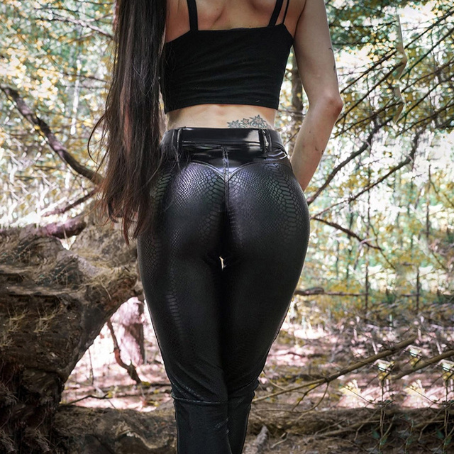 Leather Gothic Pants in pure black