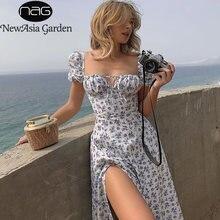 Платье Макси женское с цветочным принтом квадратным вырезом