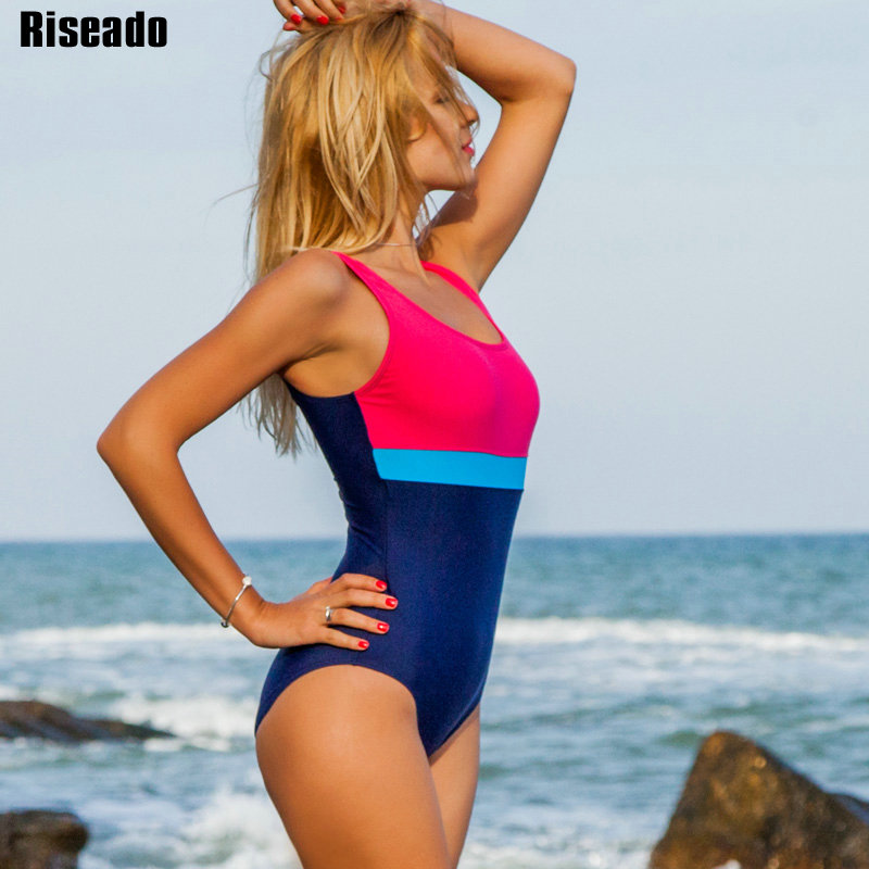 Riseado New One Piece Swimsuit Women 2019 Sport Competition Swimwear Patchwork Racing Swimming Suits for Women U-back Bathers 2
