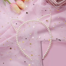 kids Pearl cat ears head bands fashion Lady Girl Hairband SexySelf Headband Girl birthday party Hair Accessories for Women hoop(China)