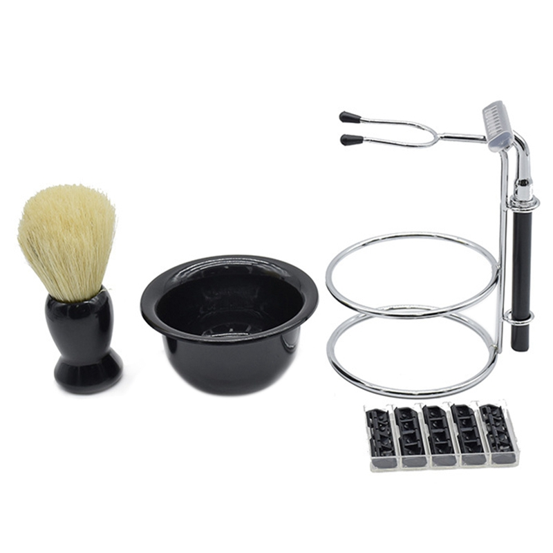 Shaving Set Soap Bowl Shaving Brush Stand Holder Beard Brush, Razor with Replacement Blades Hair Shaving Brush Kit