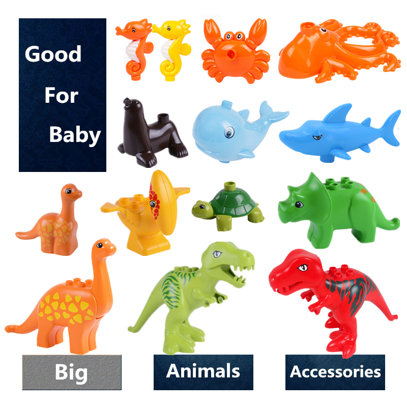 Big Size Animals Diy Figures Building Blocks Dinosaurs Whale Shark Doggy Compatible with Brand Toys for Children Kids Gifts