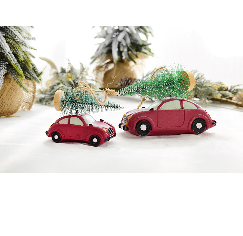 Resin American Mini Car Pull Christmas Tree Desktop Small Ornaments Christmas Decorations Pendant Xmax Ornament QW248 (4)