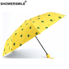 SHOWERSMILE Uv Protection Parasol Yellow Cactus Print Waterproof Umbrella Automatic Black Coating Sun Rain Ladies Parapluie