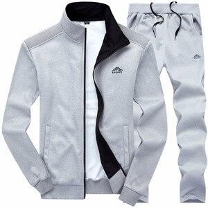 Image 4 - Nowe zestawy dla mężczyzn moda strój sportowy ciepły haft bluza z zamkiem + spodnie dresowe mężczyźni odzież 2 sztuk zestawy Slim dres 2020