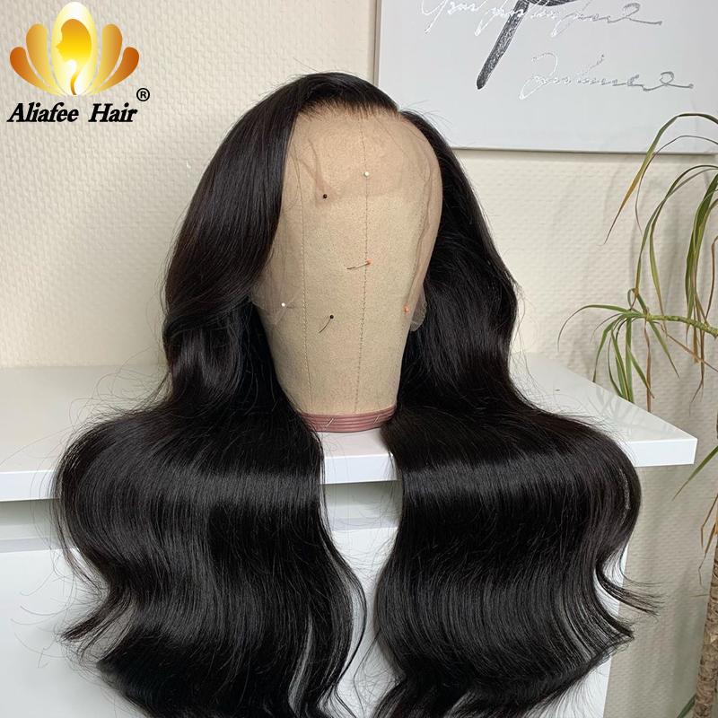 Aliafee Jet Black Human Hair Wigs 13x4 Lace Front Peruvian Body Wave Human Hair Wigs 8-30 Inches 150% Density Remy Hair Wigs