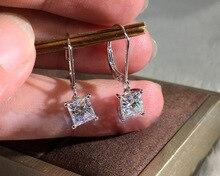 Big Bling Square Zircon Stone Silver Stud Earrings for Women Korean Fashion Jewelry 925