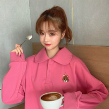 Milinsus Women Pullover Hoodies Polo Neck Korean Style Ulzzang Oversized Sweatshirt Bear Cartoon Embroidery Pink Cute Hoodie