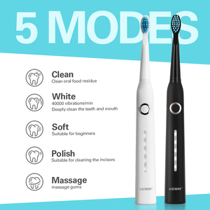 Image 4 - 5 Modes AZ 9 Pro Sonic Electric Toothbrush USB Rechargeable+ Replacement Heads Waterproof Timer for Adults Tooth Whitening Brush