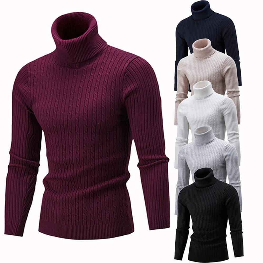 New Arrival Men's Warm Turtleneck Sweater Hombre Fashion Solid Knitted Mens Sweaters Casual Slim Pullover Male Double Collar Top