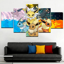 5 Panel Anime Manga Pet Elves Figure HD Canvas Posters Wall Art Pictures Paintings Accessories Home Decor Living Room Decoration