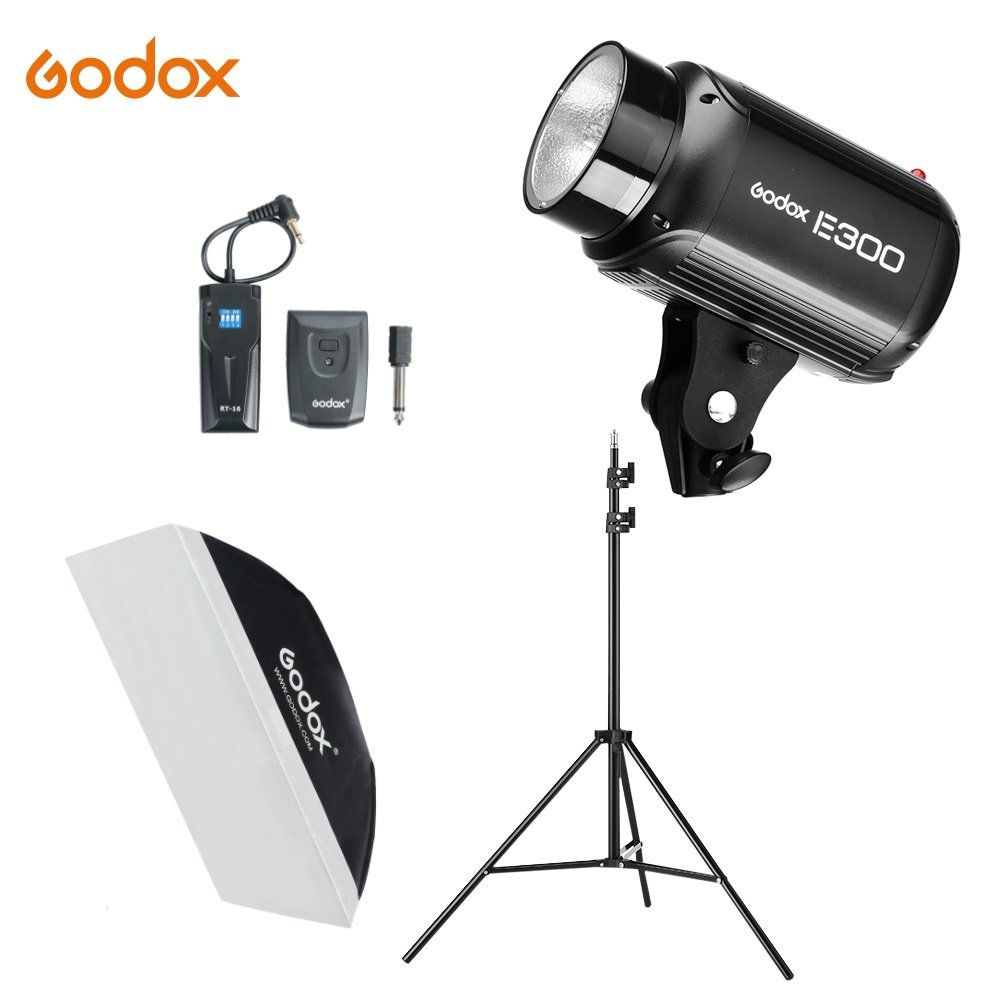 <font><b>Godox</b></font> <font><b>E300</b></font> 300Ws Photography Studio Flash Strobe Light + 50 x 70cm softbox + 180cm Light Stand + RT-16 Trigger Flash Kit image