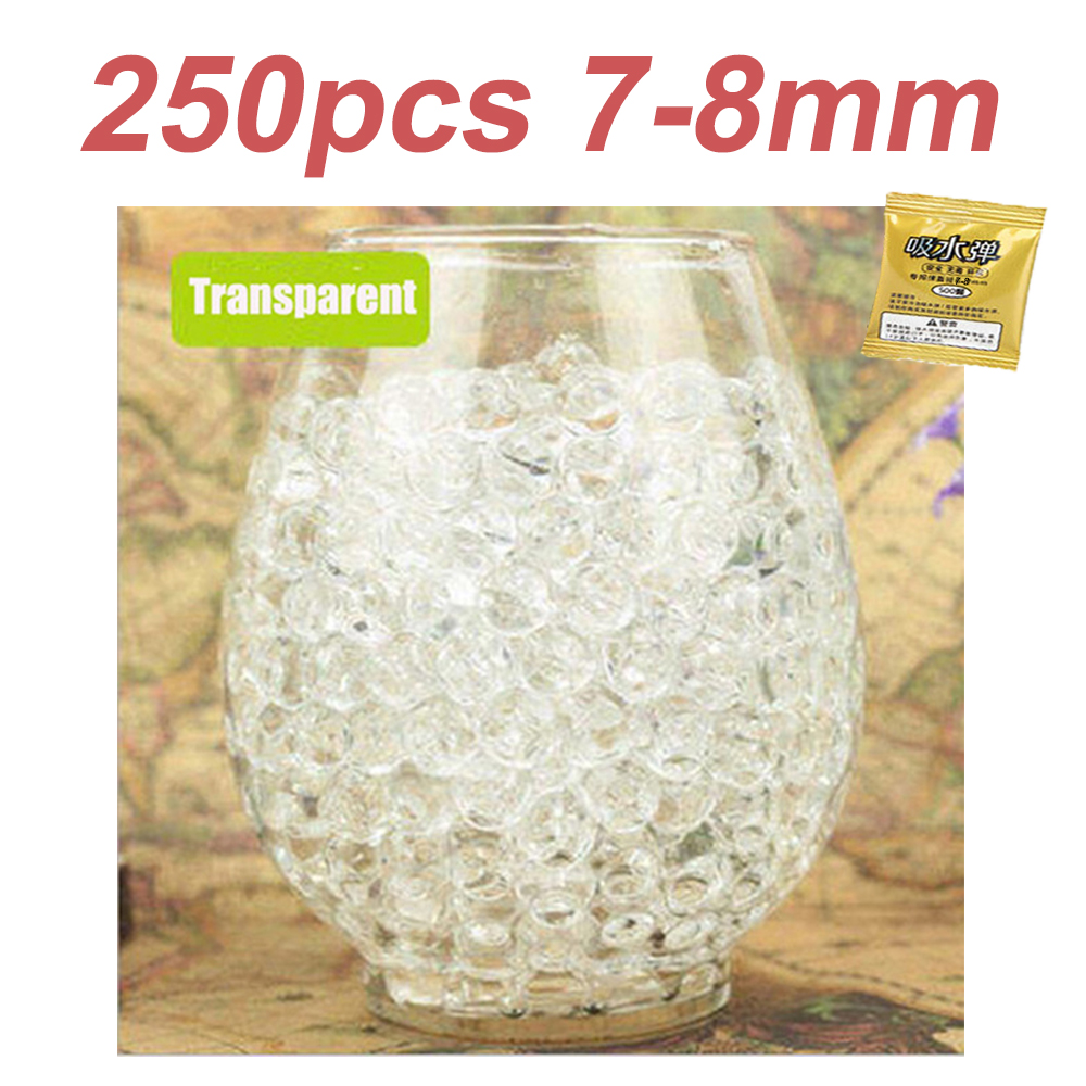 250pcs 7-8mm Hydrogel Pearl Shaped Crystal Soil Water Beads Mud Grow Ball Wedding Kids Toy Growing Water Balls for Gun Bullets 2