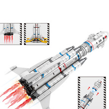 Ideas Series Wandering earth The Apollo Saturn Launch Vehicle Aviation Rocket Children Boy Building Blocks Bricks Sets LEGOINGS(China)