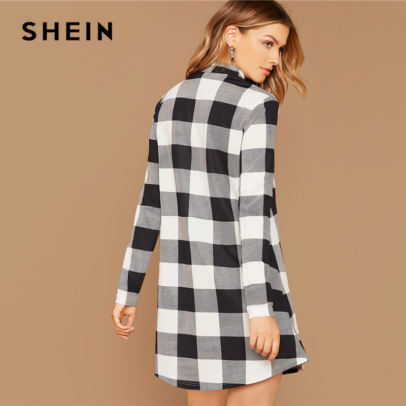 SHEIN Black And White Stand Collar Gingham Casual Short Dress Women Autumn Long Sleeve Ladies Basic Straight Pencil Dresses 2