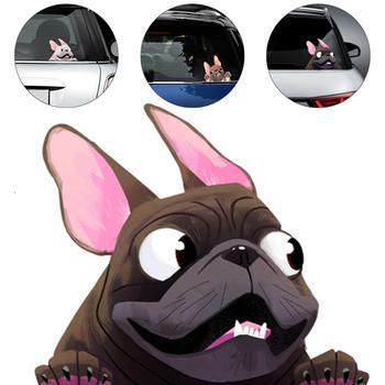 3D Sticker Car Accessories French Bulldog Dog Vinyl Stickers Car Decals Cartoon English Bulldog Funny Auto Decals For Car car stickers funny peeking monster auto car walls windows sticker graphic vinyl cars decals car styling accessories