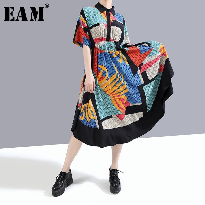 [EAM] Women Blue Pattern Irregular Printed Long Shirt Dress New Lapel Half Sleeve Loose Fit Fashion Spring Summer 2020 1W339