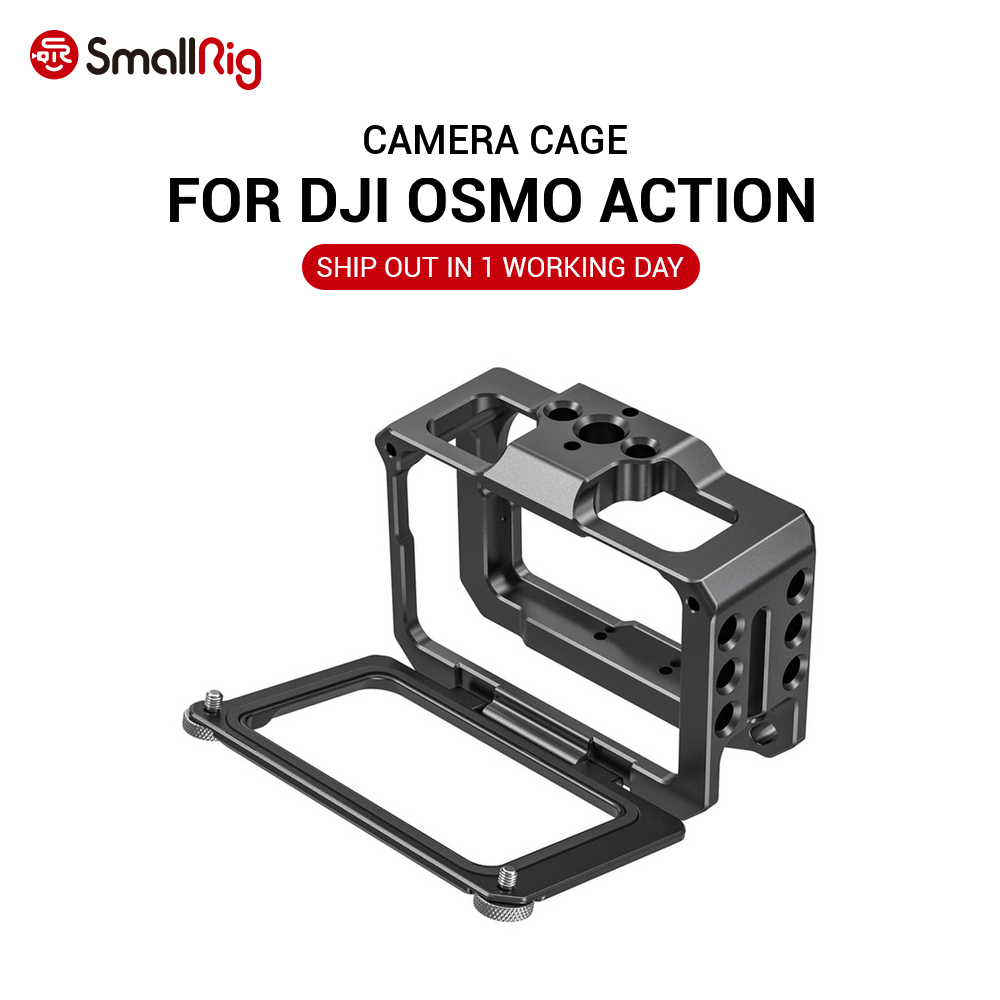 SmallRig ACTION Camera Cage Protective Case for DJI Osmo Action Camera Accessories W  52mm Adapter for Filters  amp  Wide Angle Lens