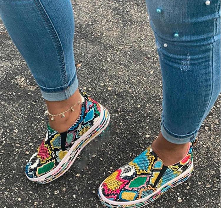HEFLASHOR kadınlar Flats yeni yılan desen karışık kadın rahat ayakkabılar Torridity düz ayakkabı kadın loafer'lar Flats ayakkabı Zapatos De Mujer