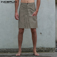 Vintage Men Skirts Kilt Pants Casual-Button Punk-Style INCERUN Fashion S-5XL Pleated