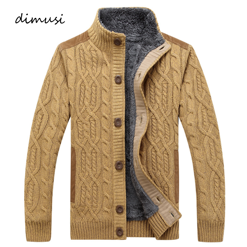 DIMUSI Winter Men's Sweaters Fashion Men Fleece Warm Knitted Sweater Coats Casual Men Slim Fit Wool Knitted Cardigan Clothing