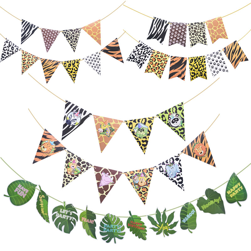 1 Set Jungle Animal Flags Banner Paper Happy Birthday Party Decoration Nursery Bunting Garland Animal Zoo Theme Party Supplies-2
