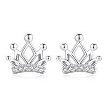 Cute Fashion 925 Sterling Silver Crown Zircon Stud Earrings For Women Jewelry oorbellen pendientes real 925 sterling silver stud earrings for women girls sterling silver jewelry brincos oorbellen aros de plata 925