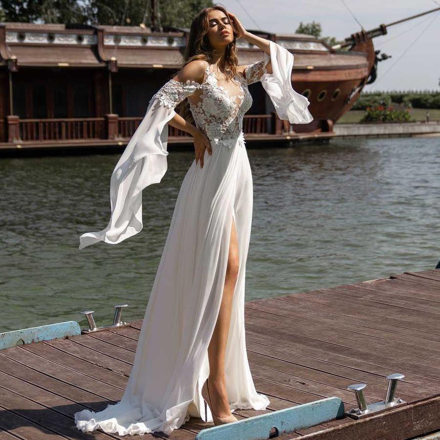 Jiayigong Spiaggia Abito Da Sposa di Boho vestido de noiva Della Boemia Del Merletto Abito Da Sposa In Chiffon Backless Split Abiti Da Sposa