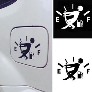 1pc Black / White Funny Car Sticker Pull Fuel Tank Pointer Reflective Stickers Decal Exterior Accessories