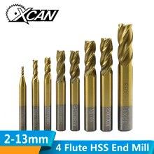 XCAN 1 шт. 2-13 мм Супер Синий нано покрытием электрические мельницы с прямым хвостовиком фрезерный cnc-маршрутизатор бит 4 торцевые фрезы