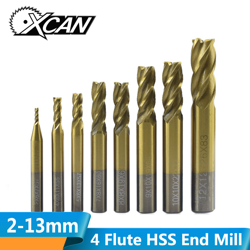 XCAN 1pc 2-13mm Titanium Coating Straight Shank HSS End Milling Cutter 4 Flute Spiral End Mill CNC Router Bit End Mill