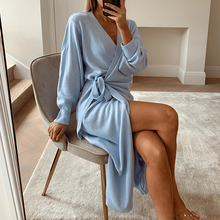 Simplee Casual V-neck knitted dress Women's 4-color dress Home style fashion dress Autumn winter new straight tube dress 2020
