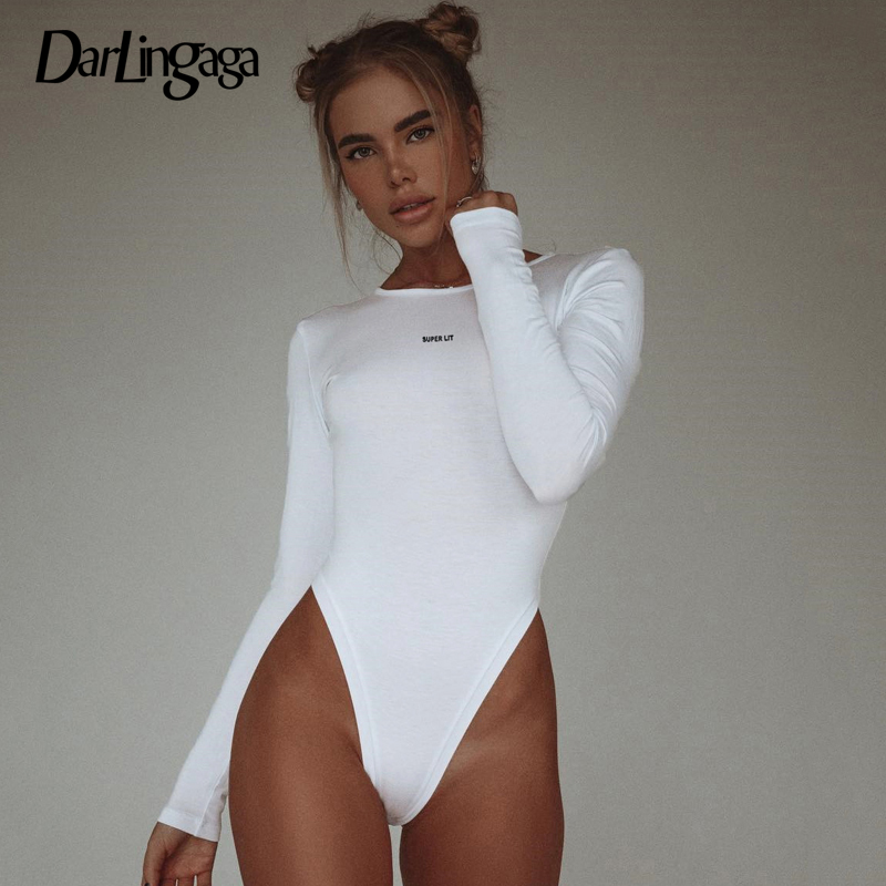 Darlingaga Casual Autumn White Long Sleeve Bodysuit Women Backless Skinny Body Suit Letter Embroidery Bodycon Jumpsuit Bodysuits