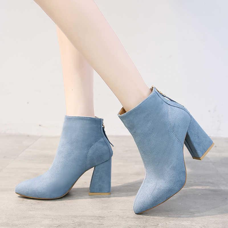 Şık yüksek topuk yarım çizmeler kadınlar sivri burun pompaları 6 renk bayanlar ofis ayakkabı akın fermuar kısa kürk sıcak çizmeler kadın