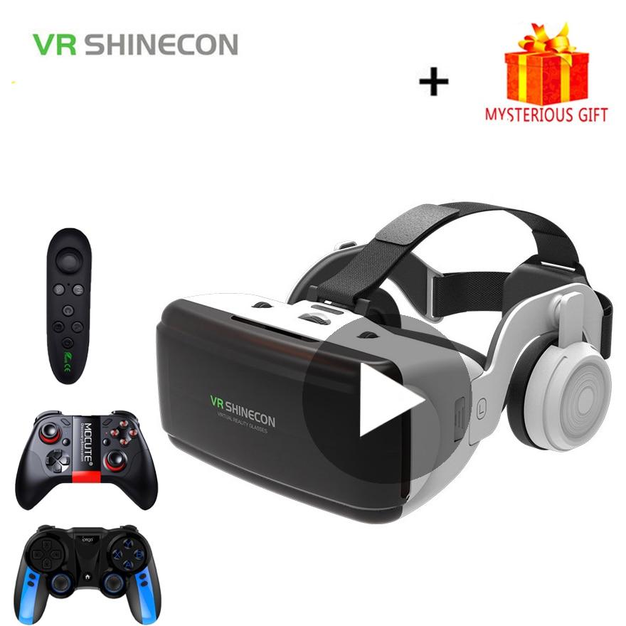 VR Shinecon G06E шлем 3D очки виртуальной реальности для iPhone Android смартфона 3 D умные виар игр смарт смартфонов дополненной телефона видео комплект а...