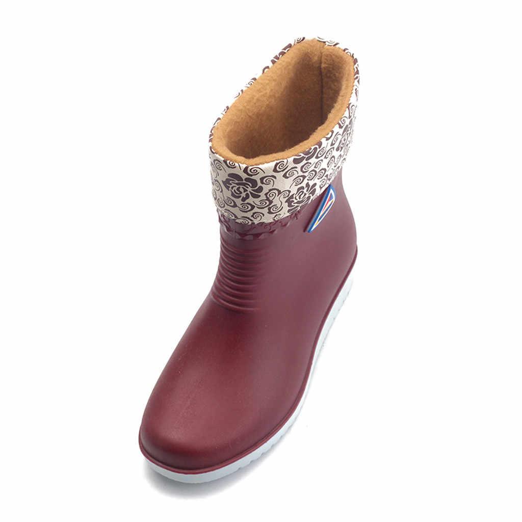 Wohnungen Nicht-slip Regen Stiefel Frauen Wasserdichte Winter Warme Runde Kappe Schuhe Wasserdichte Galoschen Regen Stiefel Сапоги Женские
