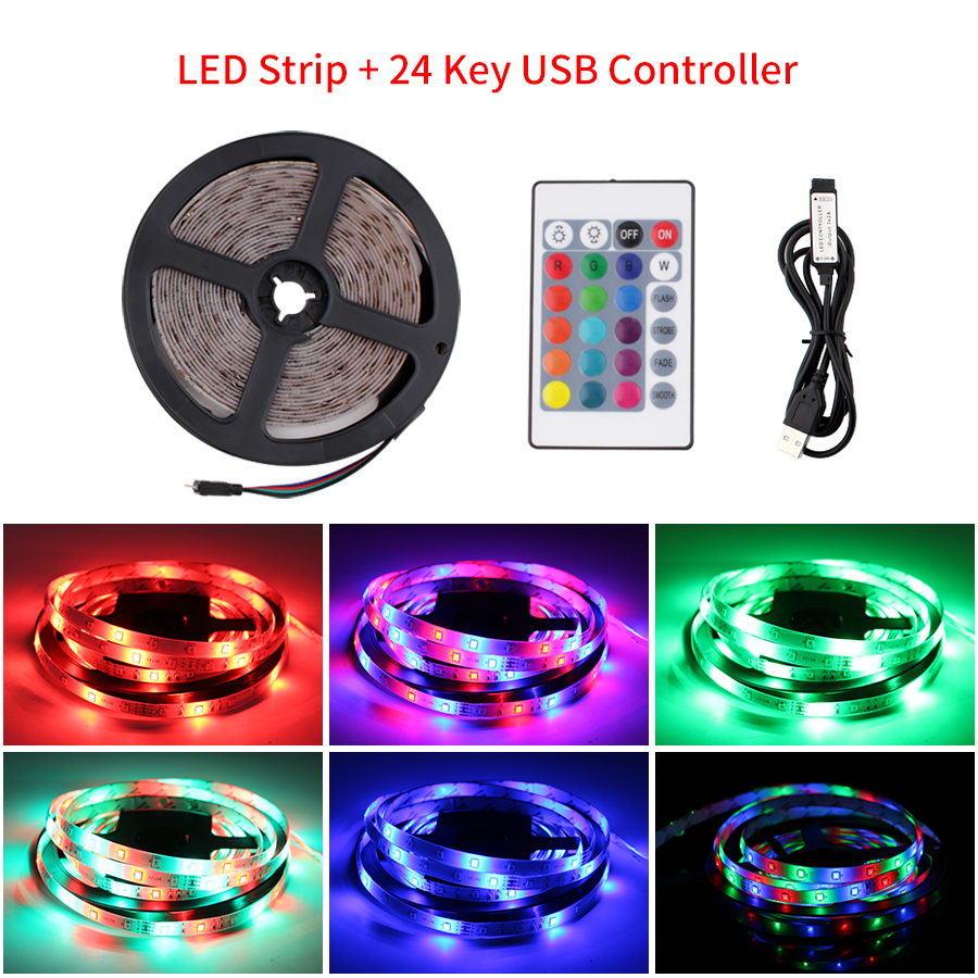 5V USB LED Strip RGB 2835 TV Backlight 50cm 1 2 3 4 5 M Led Light Strip With IR Control For Desktop PC Lamp Tape Diode Ribbon TV