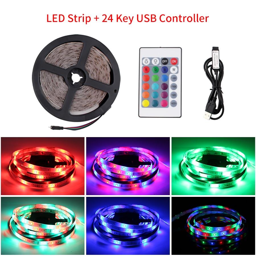 5V USB LED Strip RGB 2835 TV Backlight 50cm 1 2 3 4 5 M Led Light Strip With IR Control For Desktop PC Lamp Tape Diode Ribbon TV