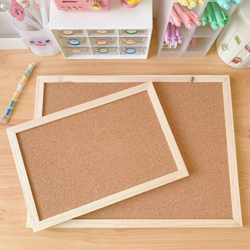 Cork Wood Wall Hanging Message Bulletin Board Frame Notice Note Memo Board for Home School Office Shop Photo Background C26