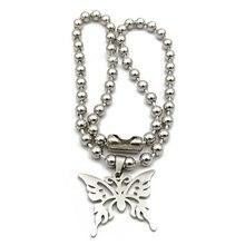 Ожерелье с подвеской бабочкой из нержавеющей стали