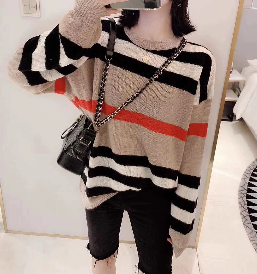 Ladies Sweater Women Autumn Winter Tops Clothes 2019 Knitted Pullover Knitwear Loose Striped Sweaters Female A5782
