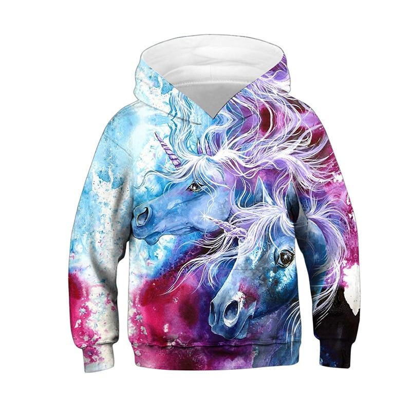 Toddler Boys Girls Pullover Hoodie Fleece Galaxy Unicorn Outer Jacket