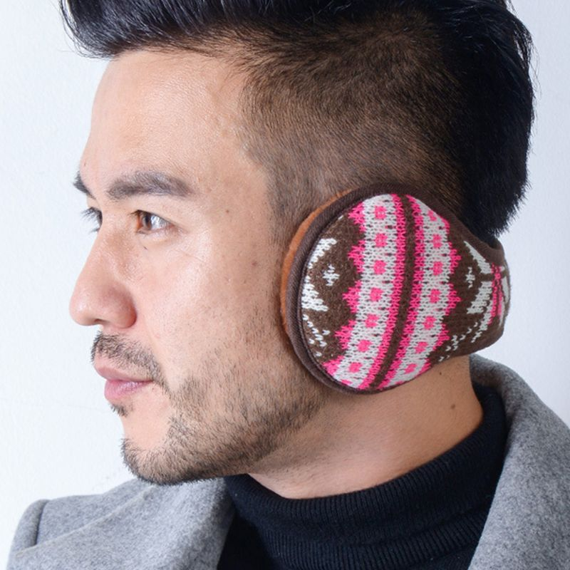 Women Men Snowflake Knitted Earmuffs Foldable Winter Thicken Plush Ear Warmers