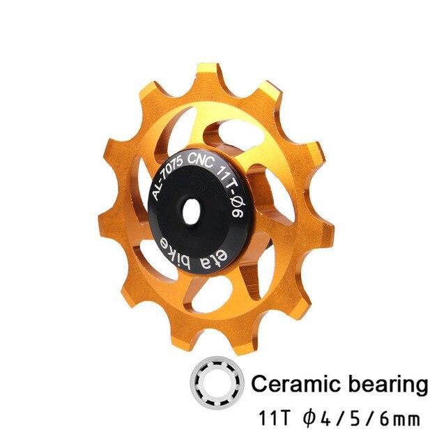 11T vtt vélo dérailleur arrière Jockey roue en céramique roulement poulie CNC vélo de route Guide rouleau tendeur 4mm 5mm 6mm roulement de vélo