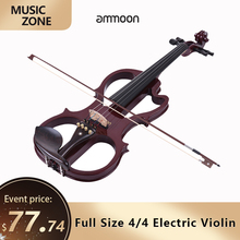 Ebony Electric Violin Fiddle Ammoon Fingerboard Solid-Wood Maple-Body Silent Full-Size