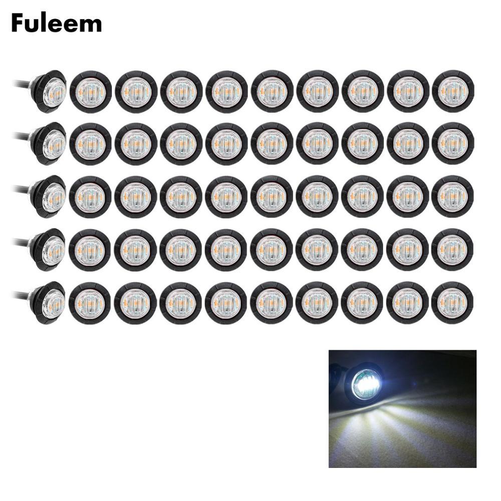 Fuleem 50PCS 3led White 3/4 Inch Mini Led Marker Clearance Light Side Marker Lights 12V Waterproof