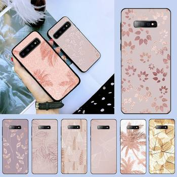 Rose Gold Leaf Phone Case For Samsung S6 S7 edge S8 S9 S10 e plus A10 A50 A70 note8 J7 2017 image